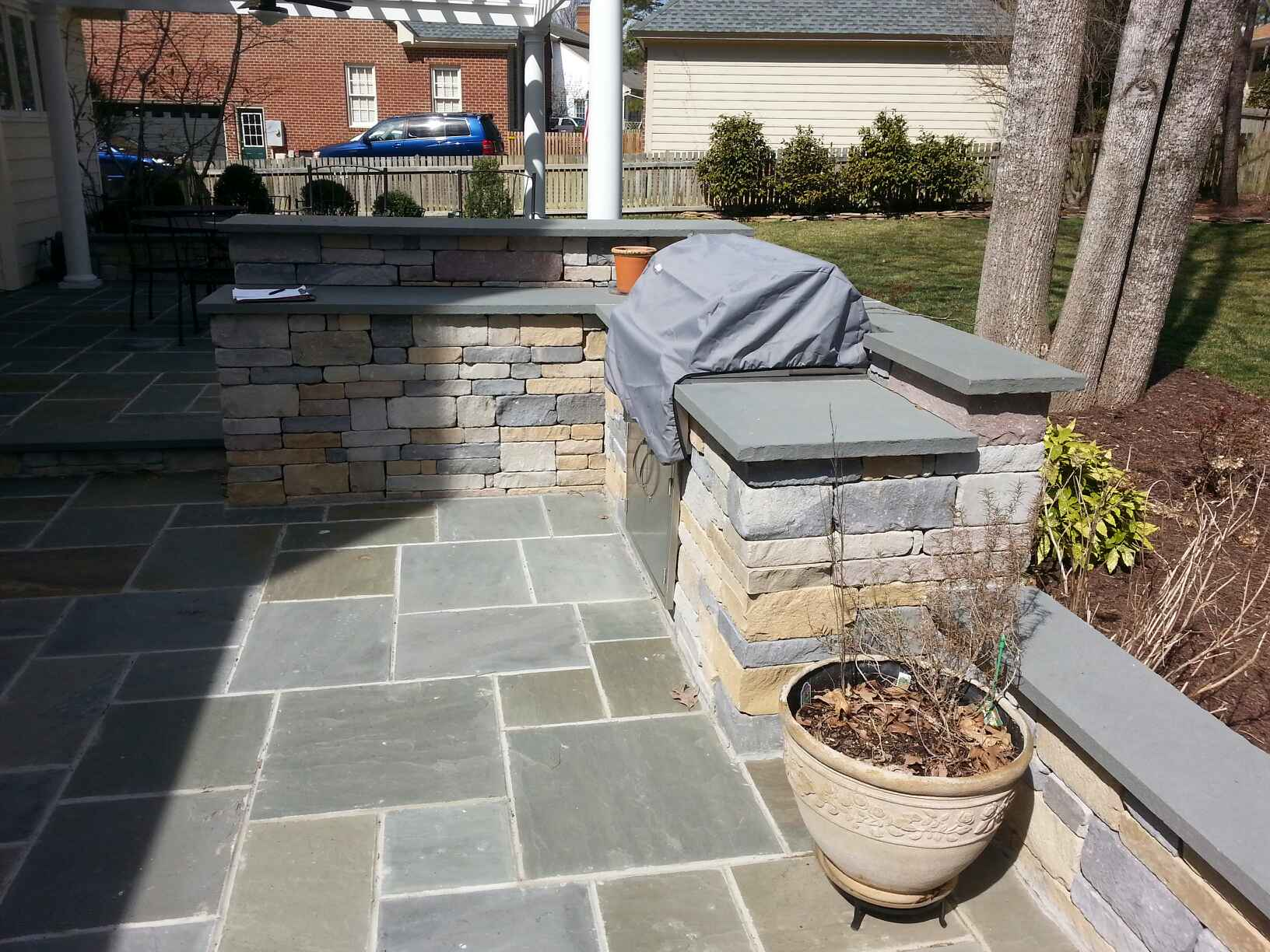 patio with fire pit and pergola. Bluestone Patio, Outdoor Kitchen, Pergola And Fire Pit Patio With O